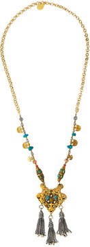Devon Leigh Long Beaded Tasseled Pendant Necklace