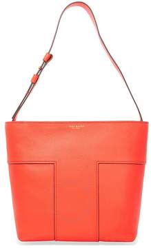 Tory Burch Block-T Pebbled Leather Tote- Spicy Orange - ONE COLOR - STYLE