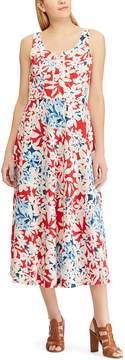 Chaps Petite Floral Lace-Up Sleeveless Dress