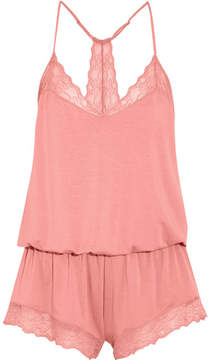 Eberjey Catalina Lace-trimmed Stretch-modal Jersey Playsuit - Coral