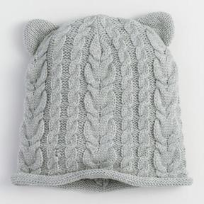 World Market Gray Cable Knit Cat Hat