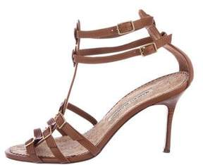 Manolo Blahnik Leather Caged Sandals