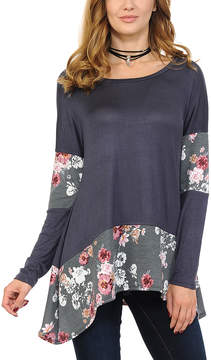 Celeste Gray Floral Sidetail Top - Women