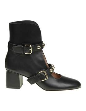 RED Valentino Black Leather Bootie Sandal With Applied Studs