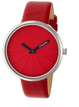 Simplify The 4000 SIM4003 Silver and Red Leather Analog Watch