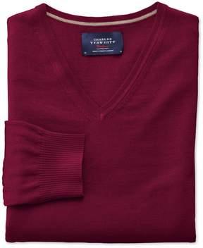 Charles Tyrwhitt Dark Red Merino Wool V-Neck Sweater Size Large
