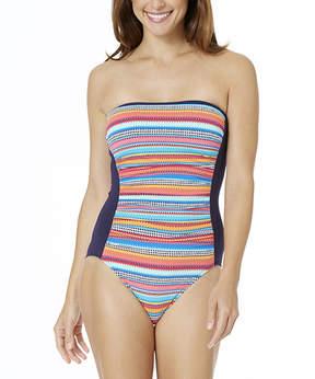 Anne Cole Pink & Blue Stripe Strapless One-Piece