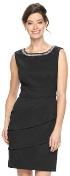 Connected Apparel Women's Tiered Embellished Sheath Dress