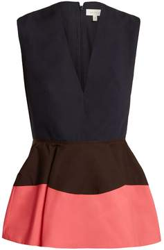 DELPOZO Colour-block peplum cotton top