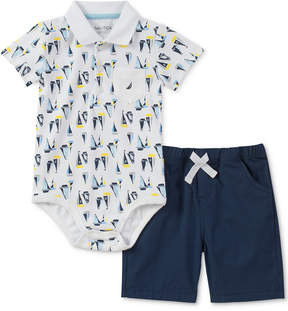Nautica 2-Pc. Printed Polo Bodysuit & Shorts Set, Baby Boys