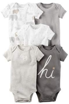 Carter's Unisex Baby 5-Pack Short-Sleeve Original Bodysuits, Gray, 12M