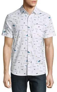 Original Penguin Geo-Print Short Sleeve Button-Down Shirt