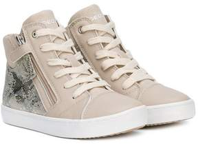 Geox snakeskin effect hi-top sneakers