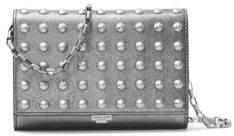 Michael Kors Yasmeen Metallic Leather Clutch - GREY - STYLE
