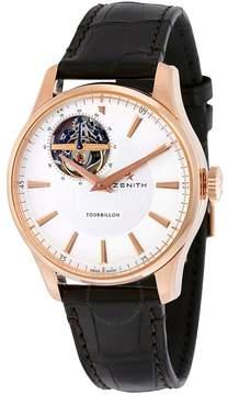 Zenith El Primero Captain Tourbillon Silver Dial Black Leather Men's Watch