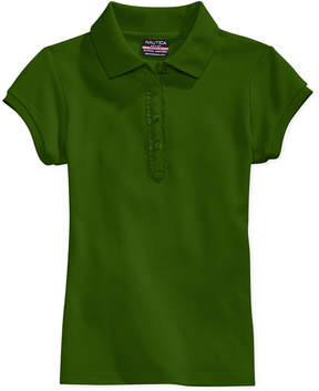Nautica School Uniform Ruffle-Placket Polo, Big Girls Plus (8-20)
