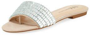 Neiman Marcus Steel Embellished Flat Sandal