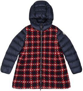 Moncler Curiosite Tartan Hooded Coat