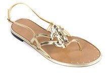 Roberto Cavalli Metallic Gold Leather Flat Sandals.