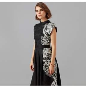 Amanda Wakeley   Black Sheer Cloque Jacquard Midi Dress   Xl   Black
