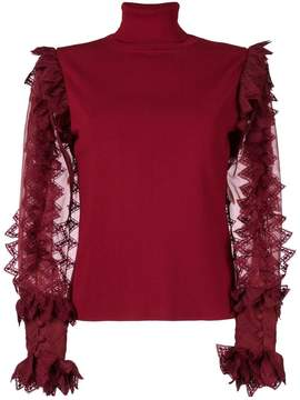 Antonio Berardi sheer contrast sleeved top