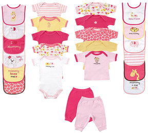 Luvable Friends Pink 24-Piece Deluxe Safari Gift Cube - Newborn