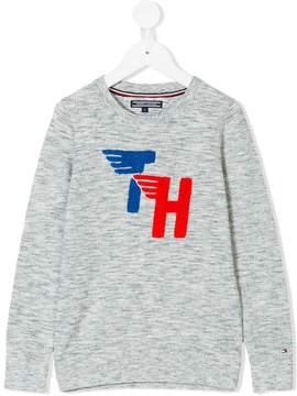 Tommy Hilfiger Junior logo intarsia jumper