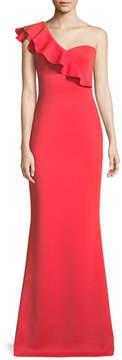 Black Halo Carmel One-Shoulder Ruffle Gown
