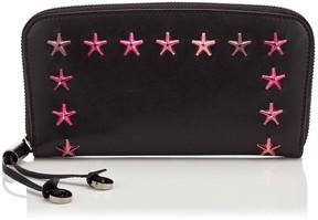 Jimmy Choo FILIPA Black Leather Wallet with Cerise Degrade Stars