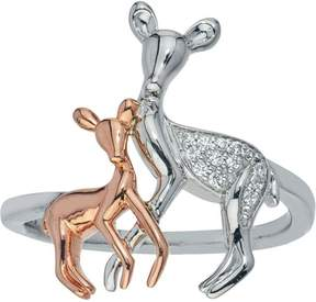 Ice Diamond Deer Ring in 10kt Rose Gold and Sterling Silver