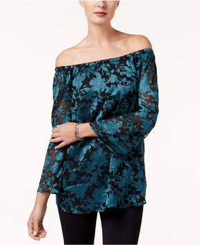 Alfani Jacquard Off-The-Shoulder Top, Created for Macy's