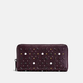 COACH Coach Accordion Zip Wallet With Prairie Rivets - BLACK COPPER/OXBLOOD - STYLE