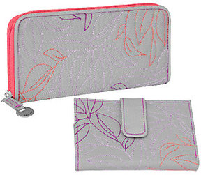 Travelon RFID Leaf Embroidered Wallet Set