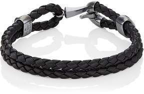 Bottega Veneta Men's Silver Clasp On Intrecciato Leather Bracelet