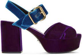 Prada Purple Velvet Criss-Cross Sandals