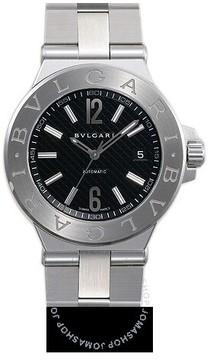 Bvlgari Diagono Black Dial Stainless Steel Ladies Watch