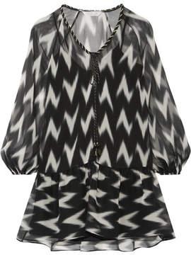Rachel Zoe Carolina Printed Silk-georgette Mini Dress - Black