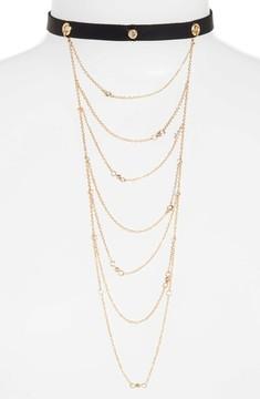 Ettika Women's Layered Chain & Leather Choker