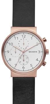 Skagen Men's Ancher Multifunction Leather Strap Watch, 40mm