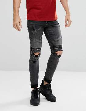 New Look Skinny Biker Jeans With Rips In Black Wash