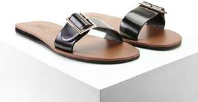 Forever 21 Faux Leather Buckle Slides