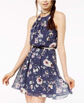 BCX Juniors' Printed Pleat-Neck Dress with Belt