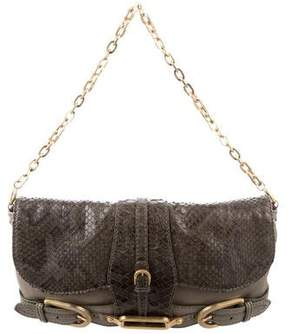 Jimmy Choo Python-Trimmed Troy Clutch
