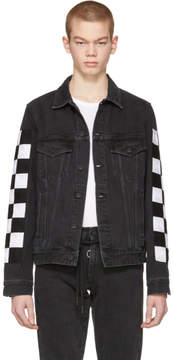 Off-White Black Big Check Slim Denim Jacket