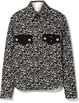 Calvin Klein Floral-print Cotton-twill Shirt - Black