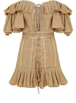 Raisa Vanessa Off The Shoulder Camel Mini Dress