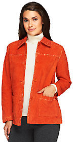 Denim & Co. Washable Suede Barn Jacket with Pickstitch Detail