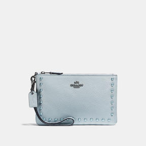 COACH Coach Small Wristlet With Lacquer Rivets - DARK GUNMETAL/PALE BLUE - STYLE