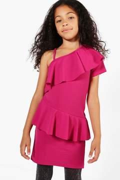 boohoo Girls One Shoulder Frill Bodycon Dress