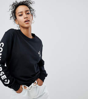 Converse Long Sleeve T-Shirt In Black With Arm Graphic